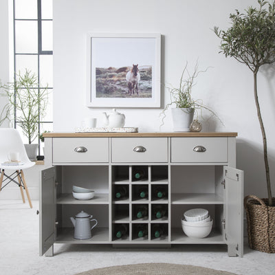 Bampton Grey Sideboard with Wine Rack