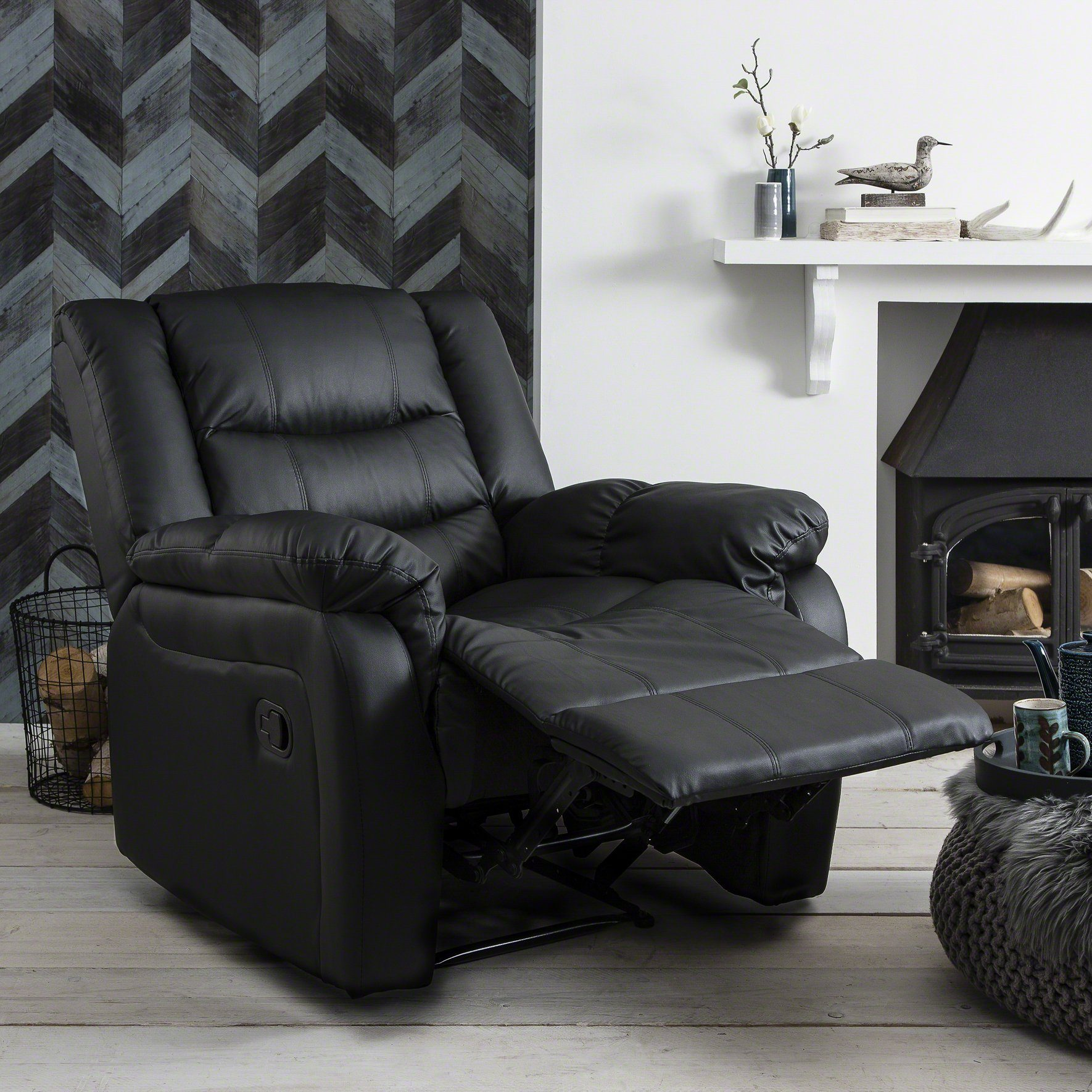 Awesome Recliner Armchair Black Bonded Leather Pdpeps Interior Chair Design Pdpepsorg