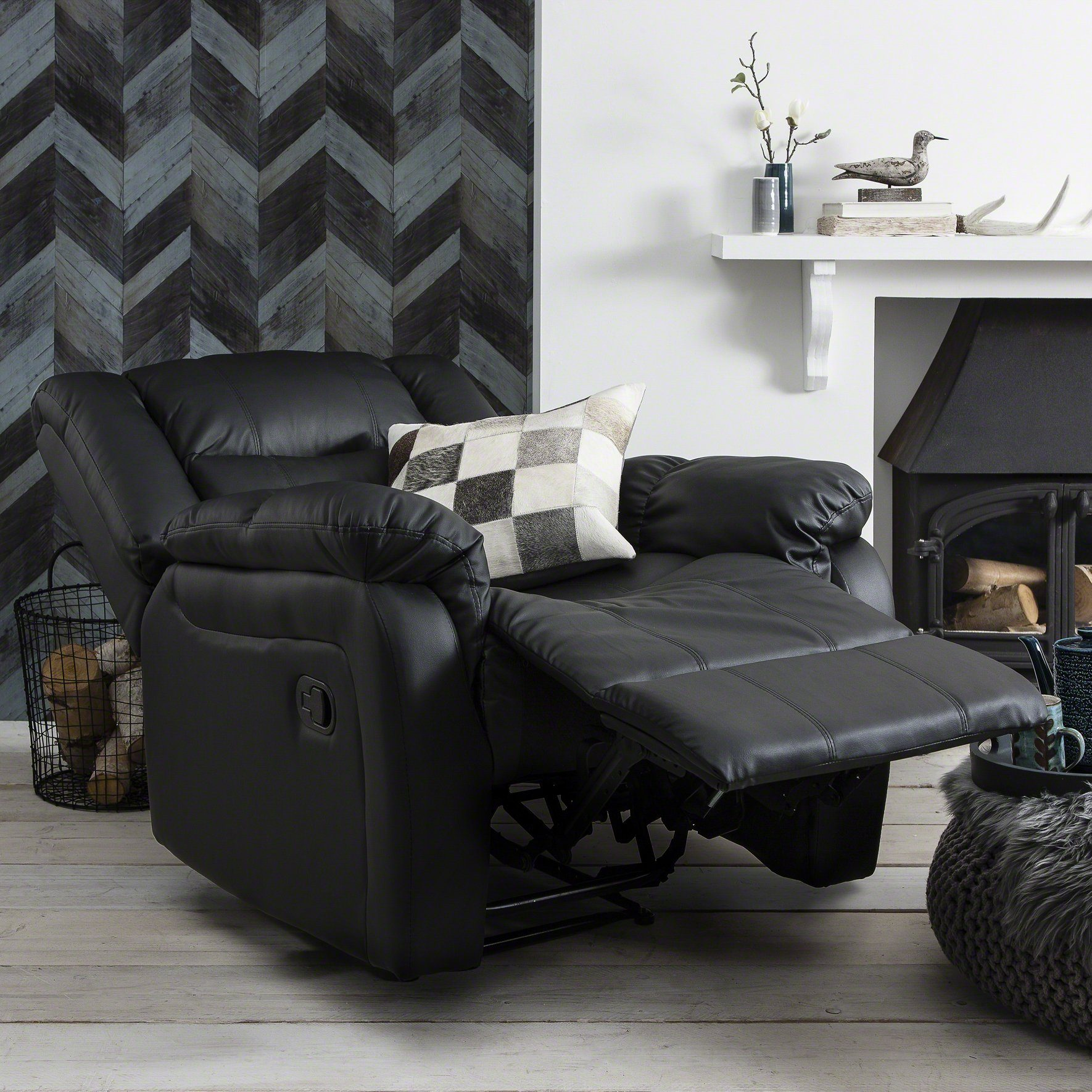 Recliner Armchair Black Bonded Leather Pre Order In