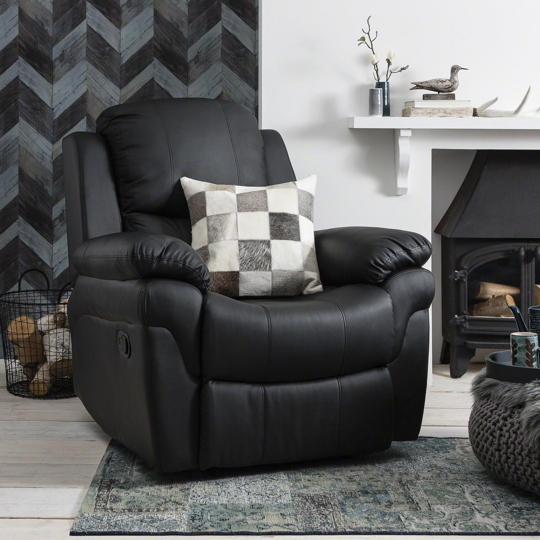 Outstanding Recliner Armchair Black Bonded Leather Pdpeps Interior Chair Design Pdpepsorg