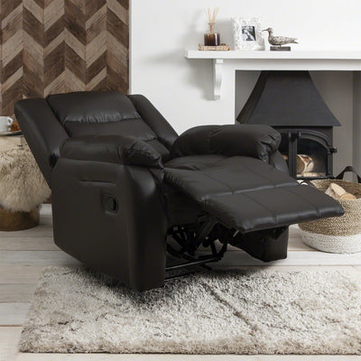 Recliner Armchair Brown Bonded Leather Laura James