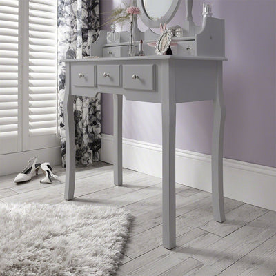 Capri Grey Dressing Table, Stool & Mirror Set - In Stock Date - 26th May 2020 - Laura James