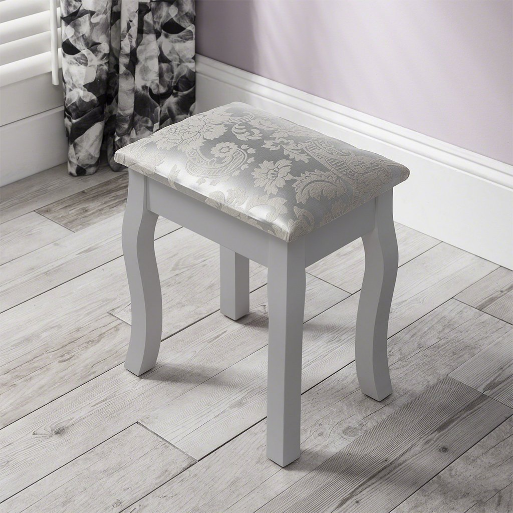Capri Grey Dressing Table Stool Mirror Set Delivery On Or Before Laura James