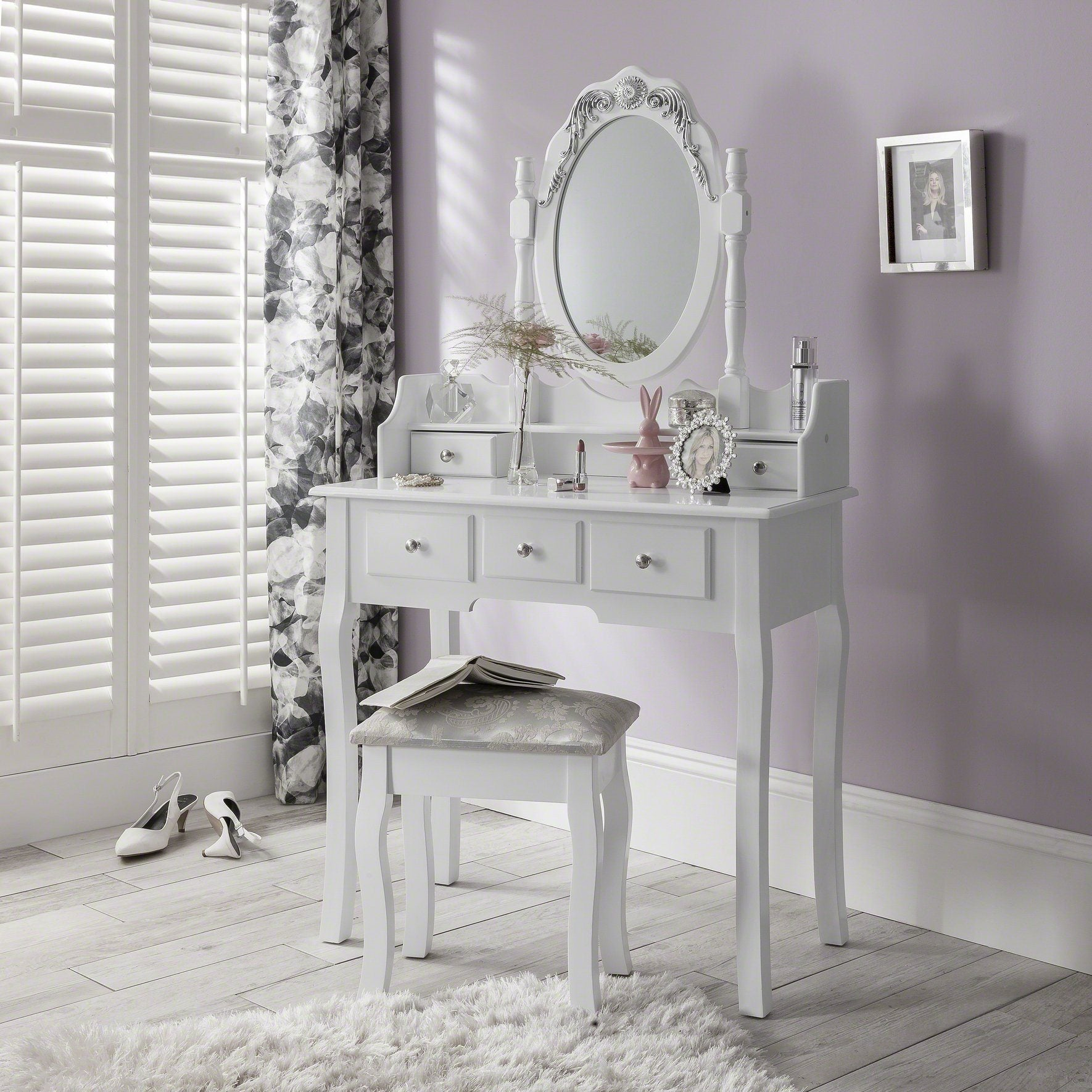 Capri White Dressing Table, Stool & Mirror Set - In Stock Date - 26th May 2020 - Laura James