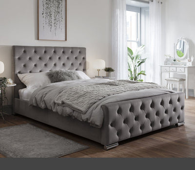 Grey Fabric Double Bed Frame - Laura James