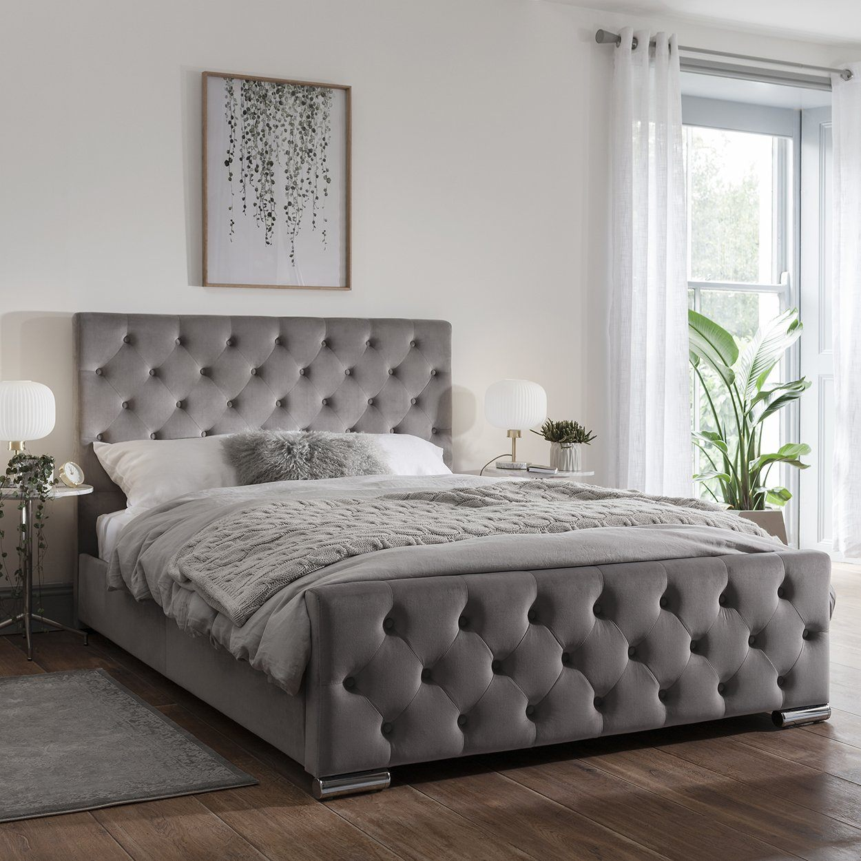 Picture of: Grey Fabric Double Bed Frame Laura James