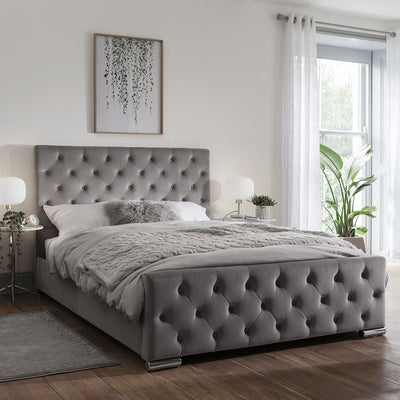 King Size Grey Fabric Bed Frame - Laura James