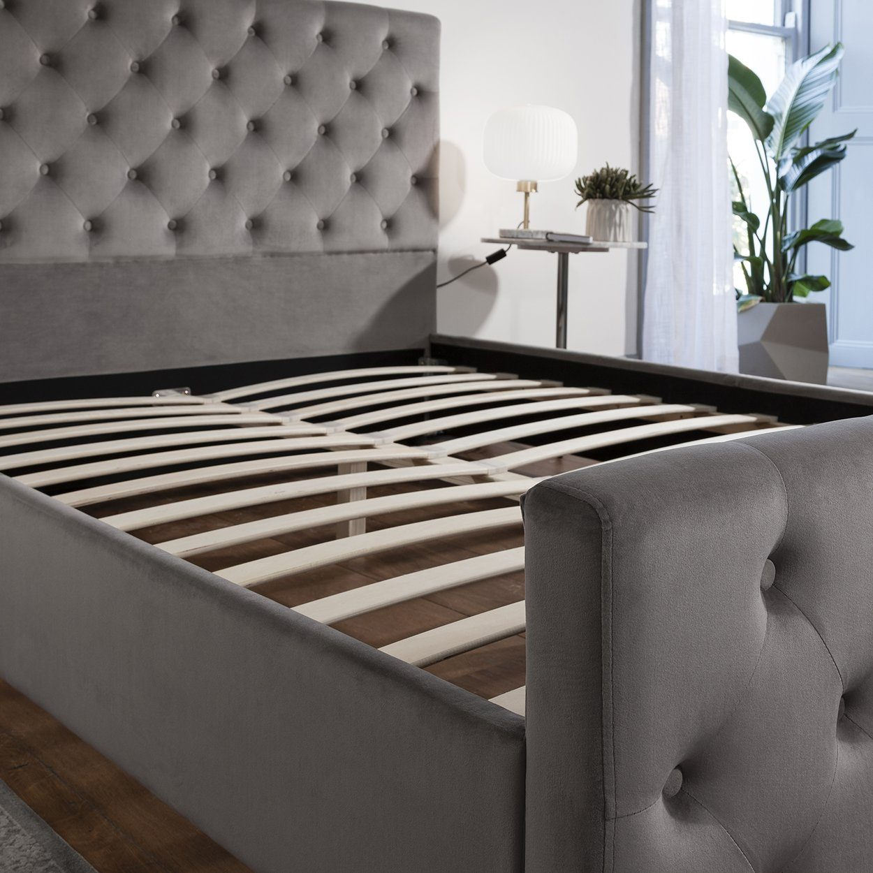 Grey Fabric Double Bed Frame Laura James