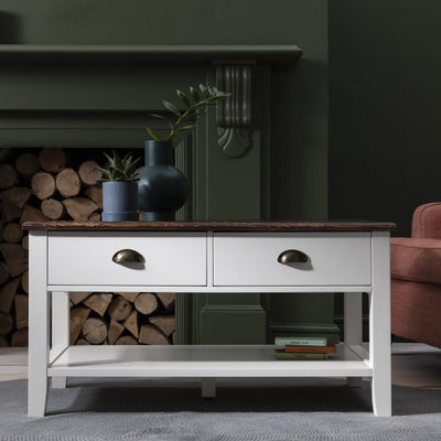 White Wooden Coffee Table with 4 Storage Drawers - Laura James