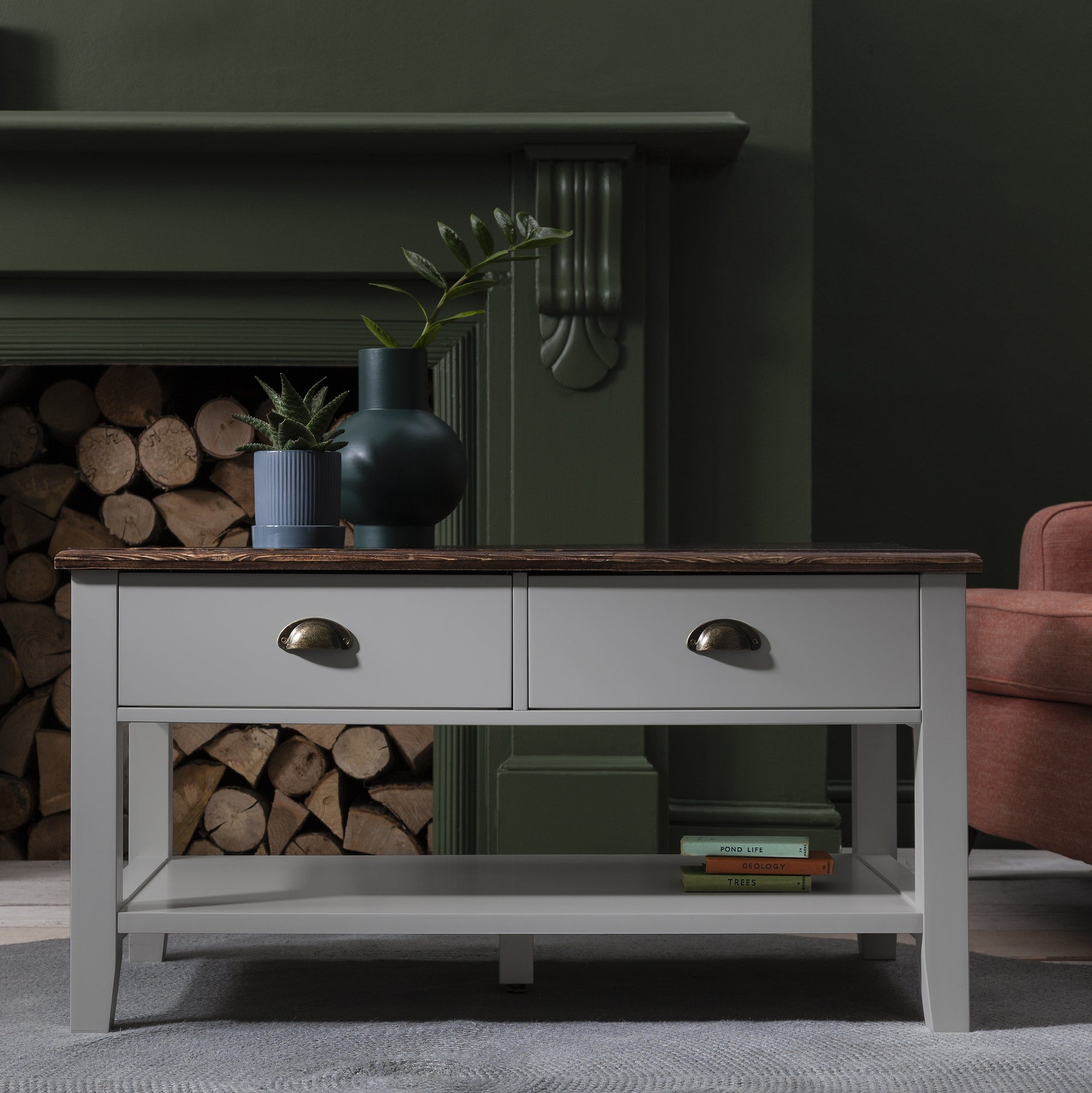 Grey Wooden Coffee Table with 4 Storage Drawers - Laura James