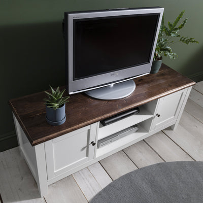 White TV Stand - Wooden TV Unit with storage - Chatsworth TV Cabinet - Laura James