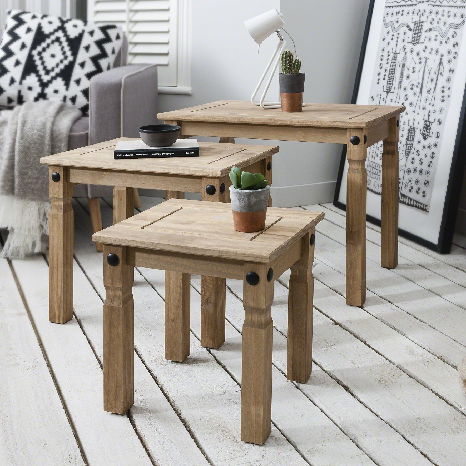 Nest of 3 Tables - solid pine - Laura James