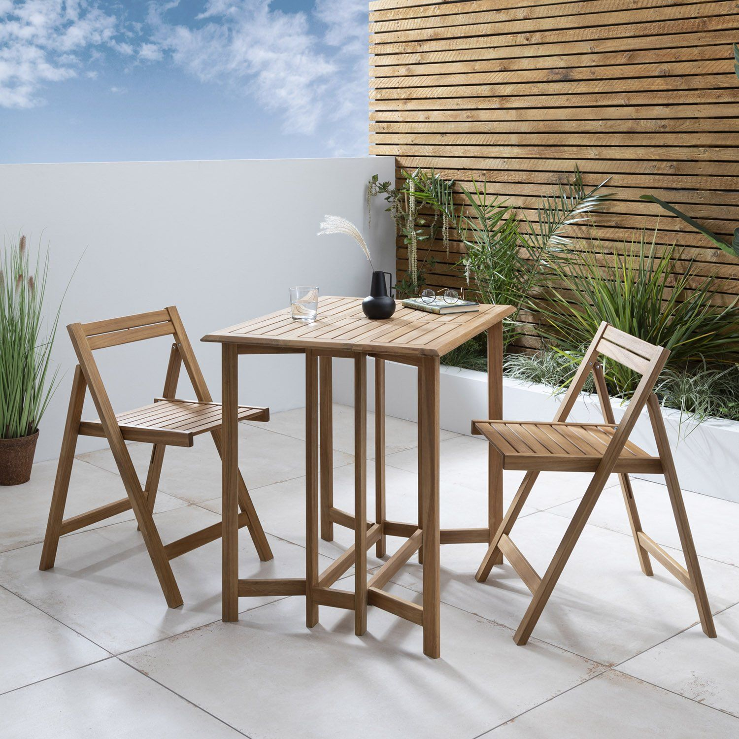 Cosette folding bistro set - acacia wood - Laura James