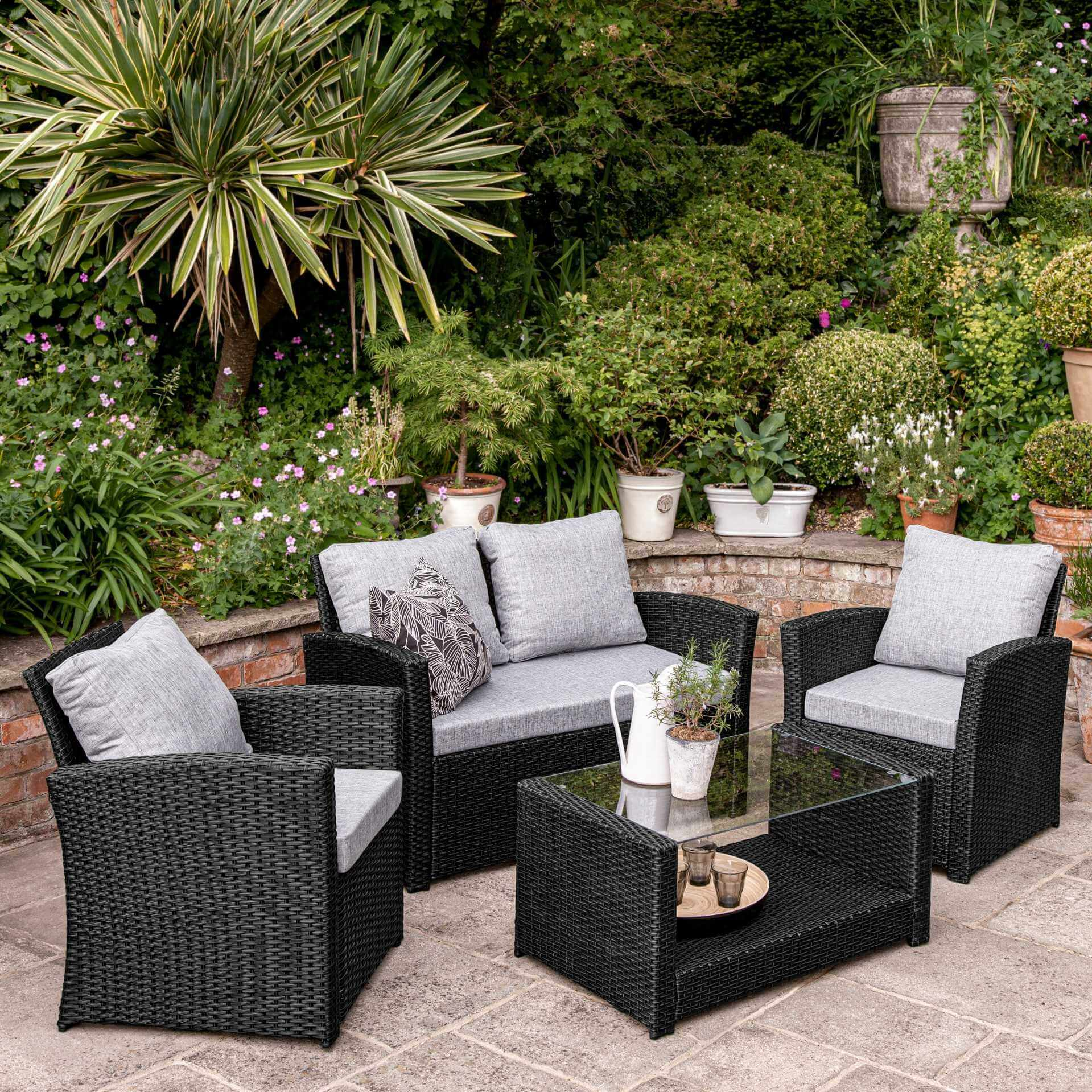 Rattan Garden Sofa Set - 4 Seater - Black Weave