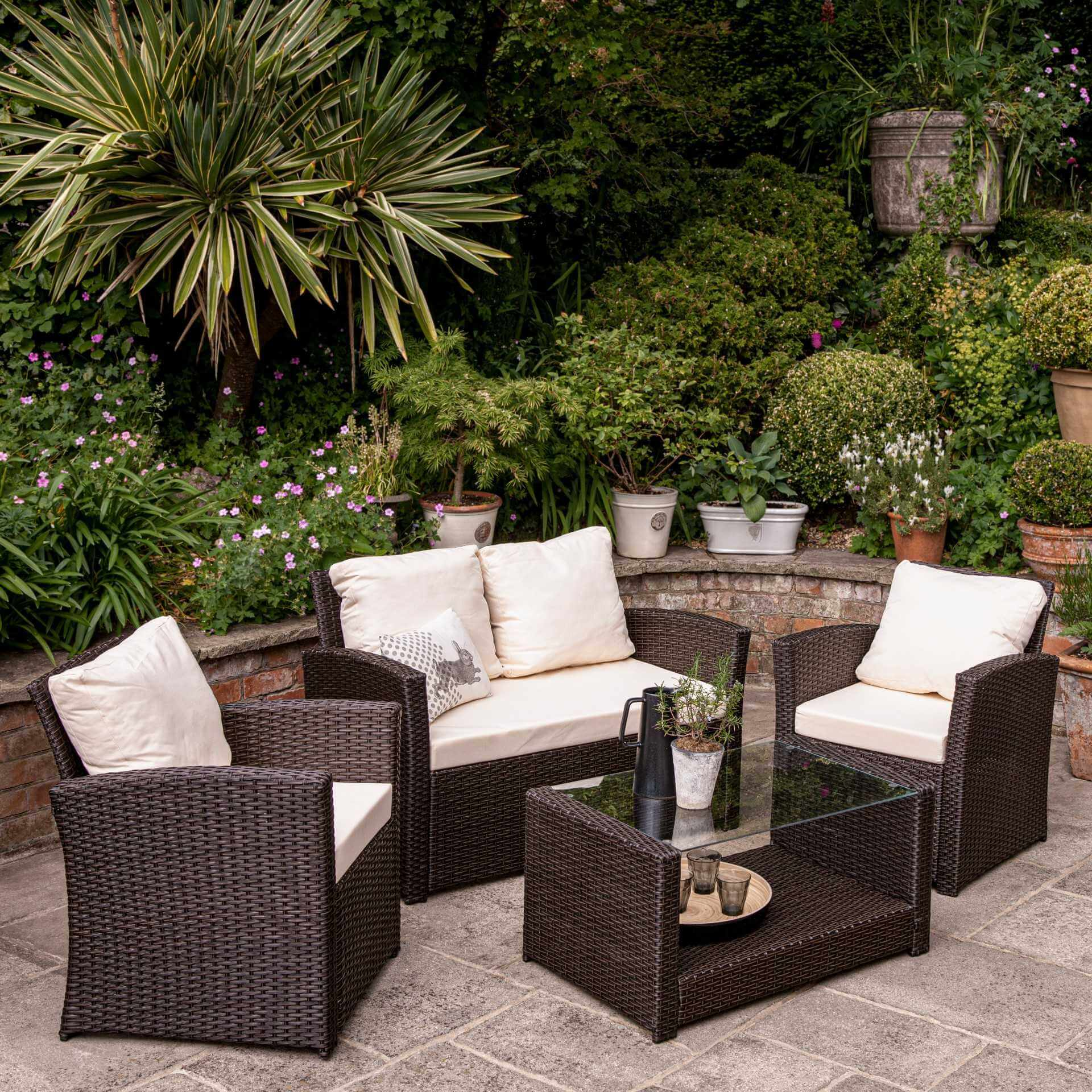 Rattan Garden Sofa Set - 4 Seater - Mixed Brown Weave
