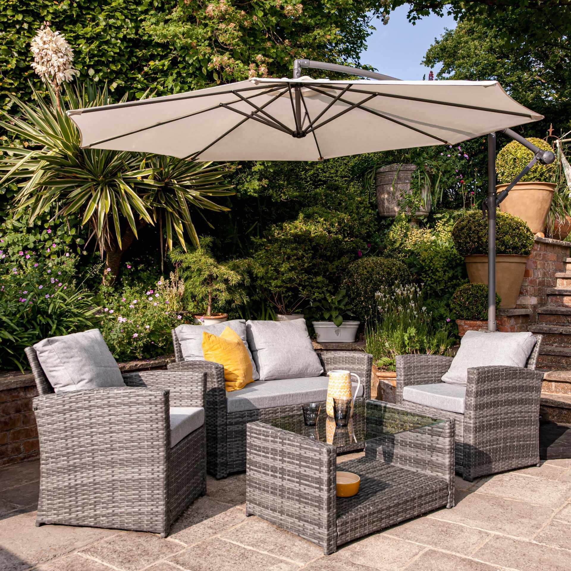 4 Seater Rattan Garden Sofa Set with Lean Over Parasol and Base - Grey Weave - Laura James