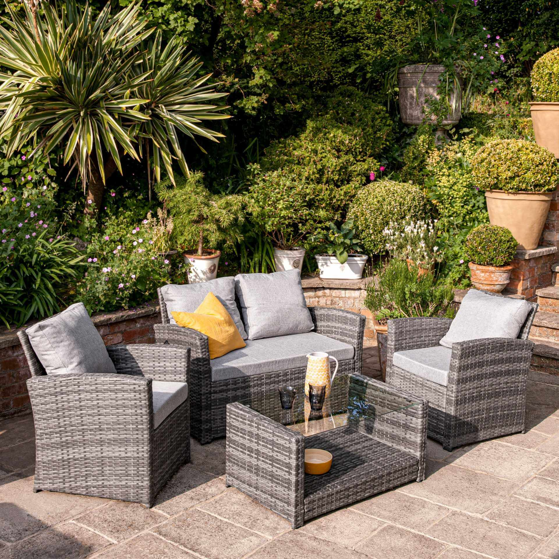 Rattan Garden Sofa Set - 4 Seater - Grey Weave