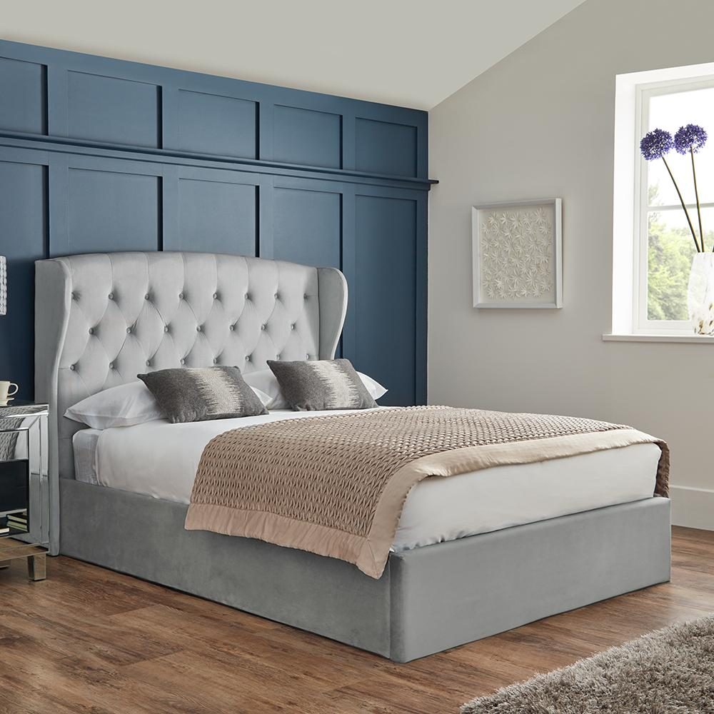 Grey king size ottoman storage bed - Laura James