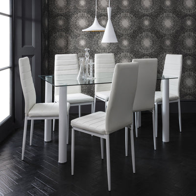Laura James - Glass Dining Table Set and 6 Chairs Set White - Laura James