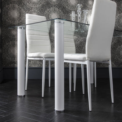 White Dining Table and Chairs - 6 Seater Set - Laura James