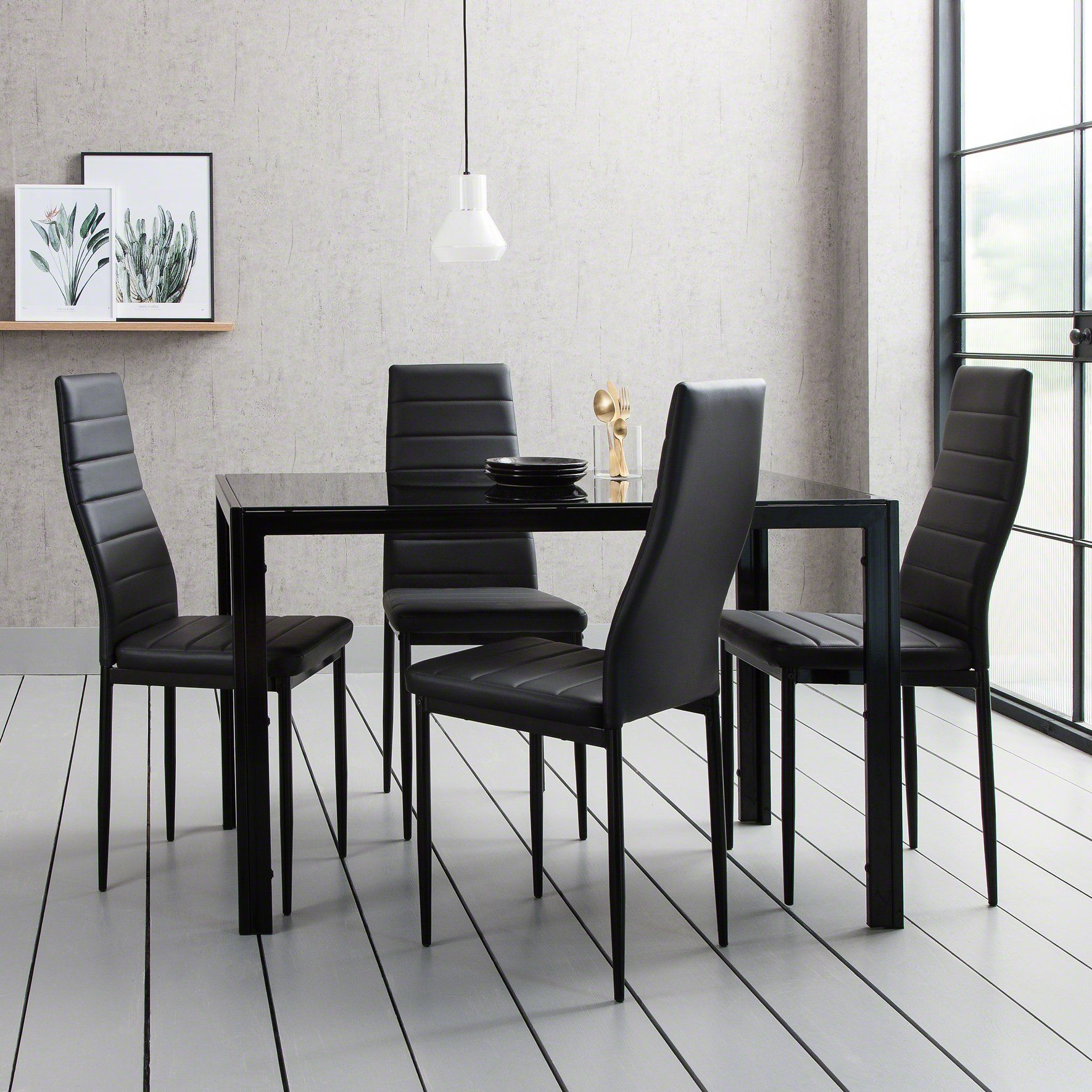 Picture of: Glass Dining Table Set With 4 Black Chairs Set Delivery On Or Before Laura James