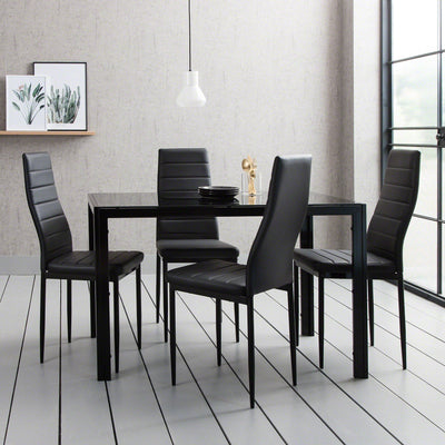 Glass Dining Table Set With 4 Black Chairs Set - Laura James