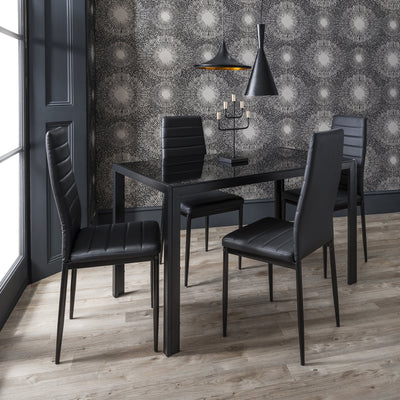 Laura James - Glass Dining Table Set and 4 Chairs Set - Laura James
