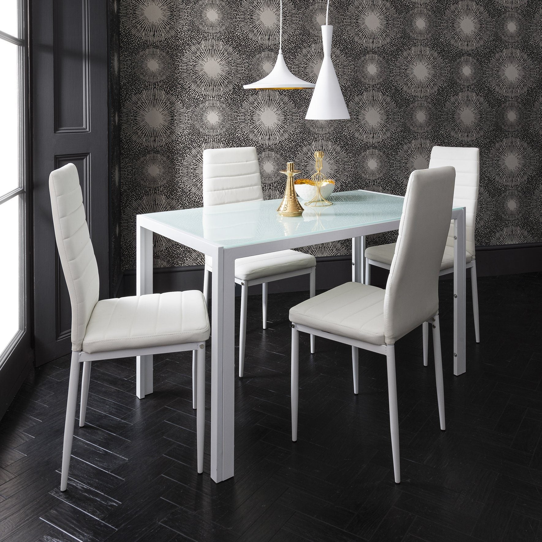 white dining table and chairs  4 seater set  in stock