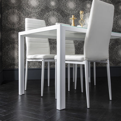 Laura James - Glass Dining Table Set and 4 Chairs Set White - Laura James