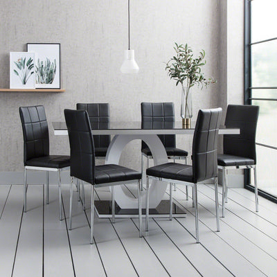 Glass Dining Table with 6 Faux Leather Chairs - Laura James