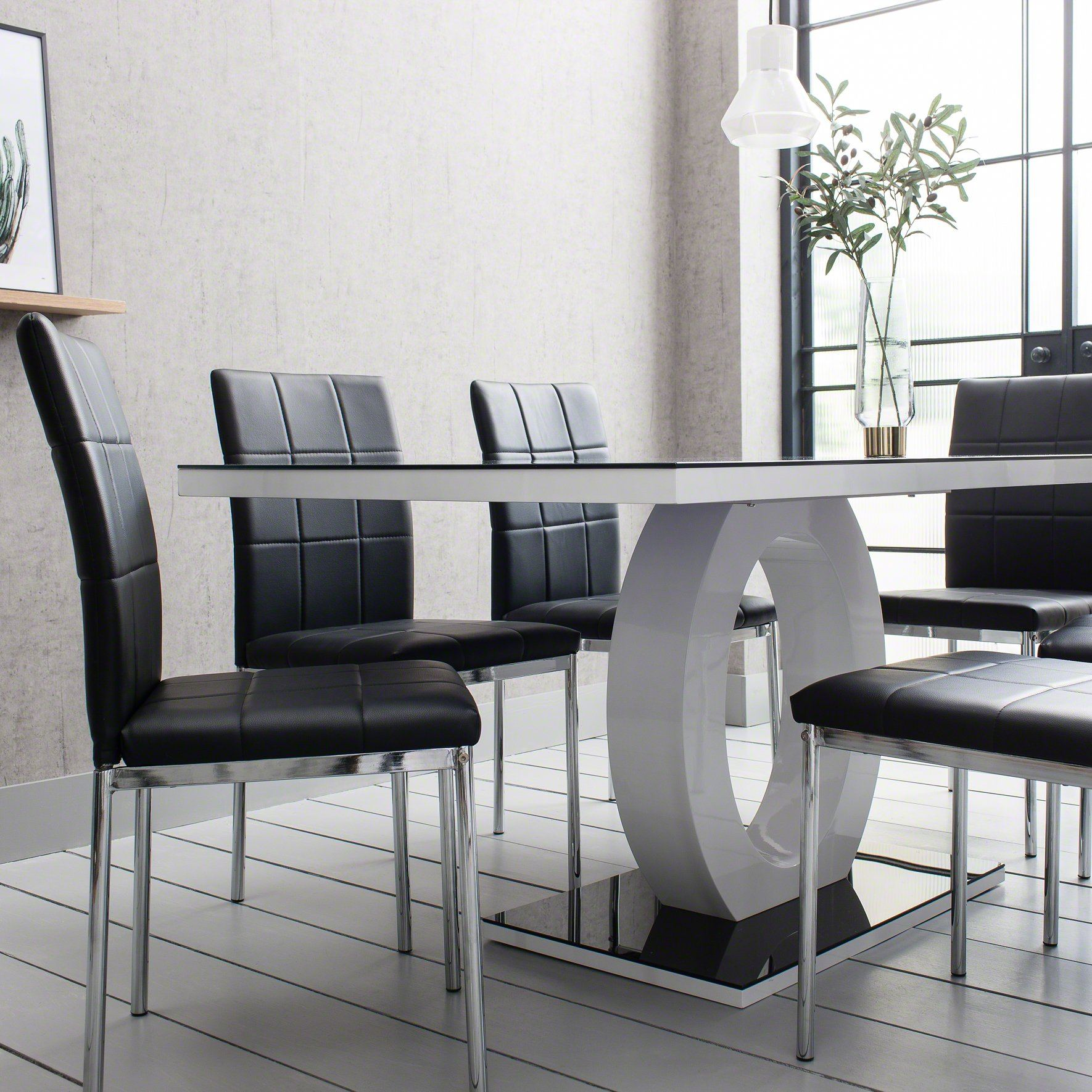 Fabulous Glass Dining Table With 6 Faux Leather Chairs Download Free Architecture Designs Scobabritishbridgeorg