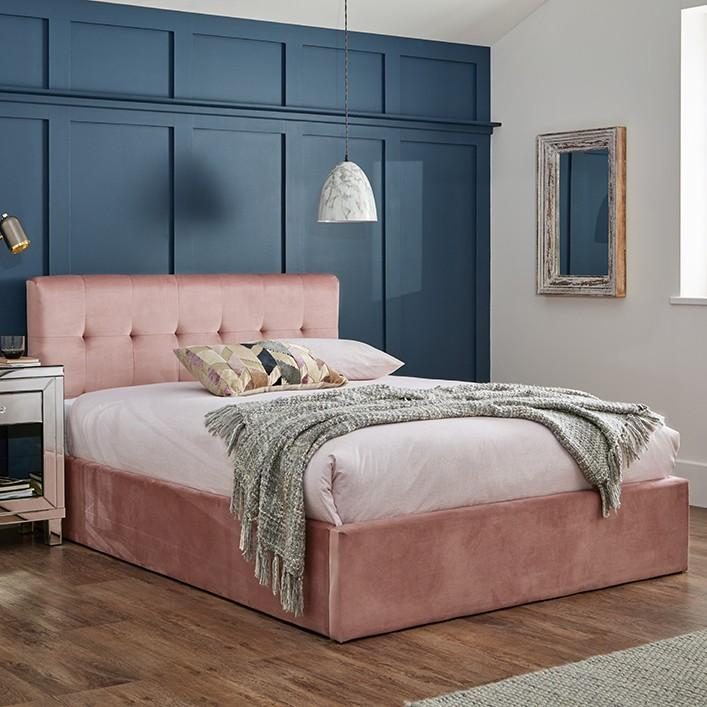 Pink velvet king size ottoman bed frame - Laura James