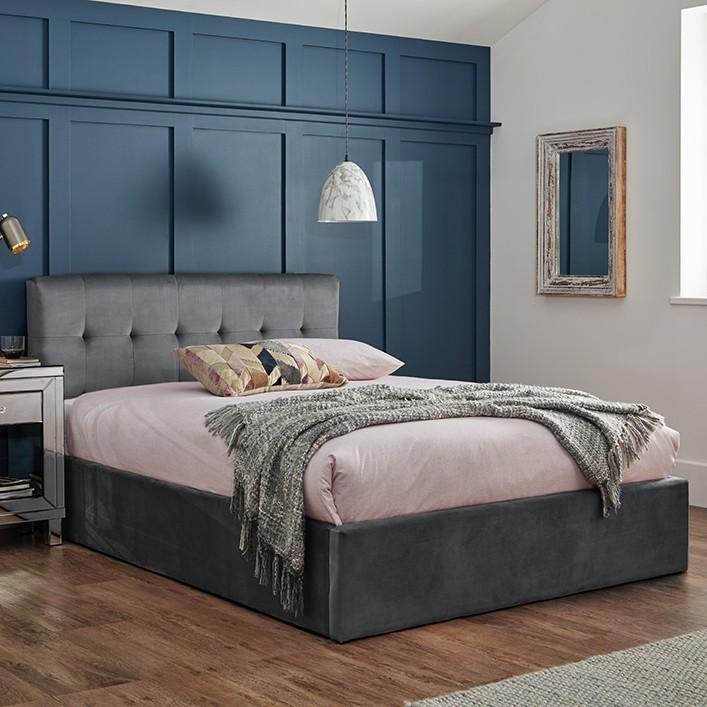 Grey velvet king size ottoman storage bed - Laura James