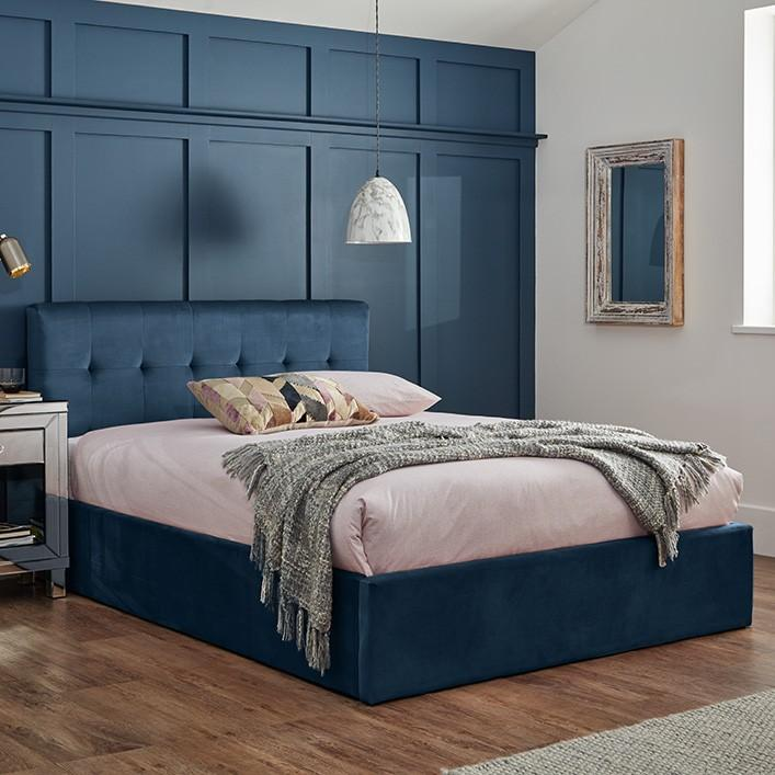 Blue velvet double storage ottoman bed frame - Laura James
