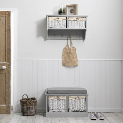 Fyfield Coat Rack with Shelf & Storage Baskets - Grey - Laura James