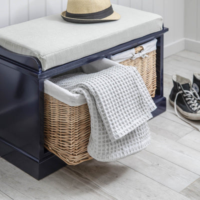 Hallway Storage Bench in Navy with cushion & 2 Baskets - Laura James