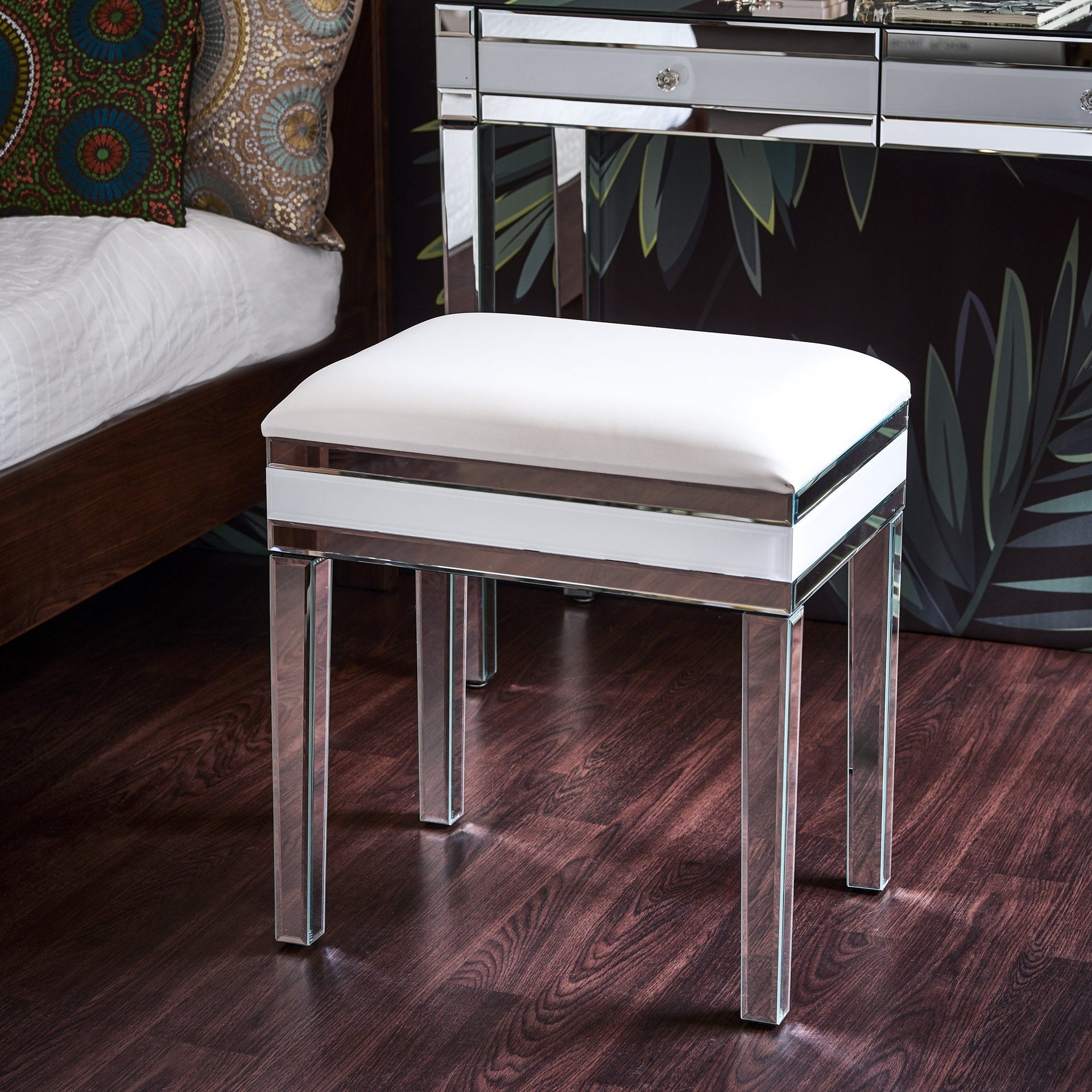 Aleanor Glass Mirrored Cushioned bedroom Stool - Laura James