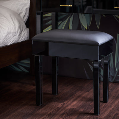Aleanor Glass Mirrored Cushioned bedroom Stool - Black - Laura James
