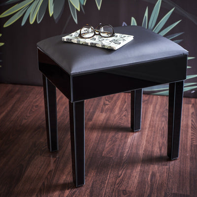 Aleanor Mirrored Dressing Table with Stool - Black - In Stock 11th October - Laura James