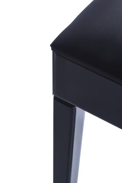 Aleanor Glass Mirrored Cushioned bedroom Stool - Black - In Stock 11th October - Laura James