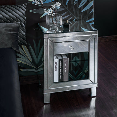 Aleanor Glass Mirrored Bedside Table, 1 drawer - Laura James