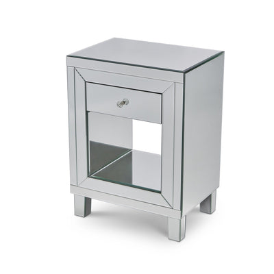 Aleanor Glass Mirrored Bedside Table, 1 drawer - In Stock 11th October - Laura James