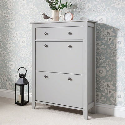 Grey Shoe Cabinet Storage Cupboard Wooden - Laura James