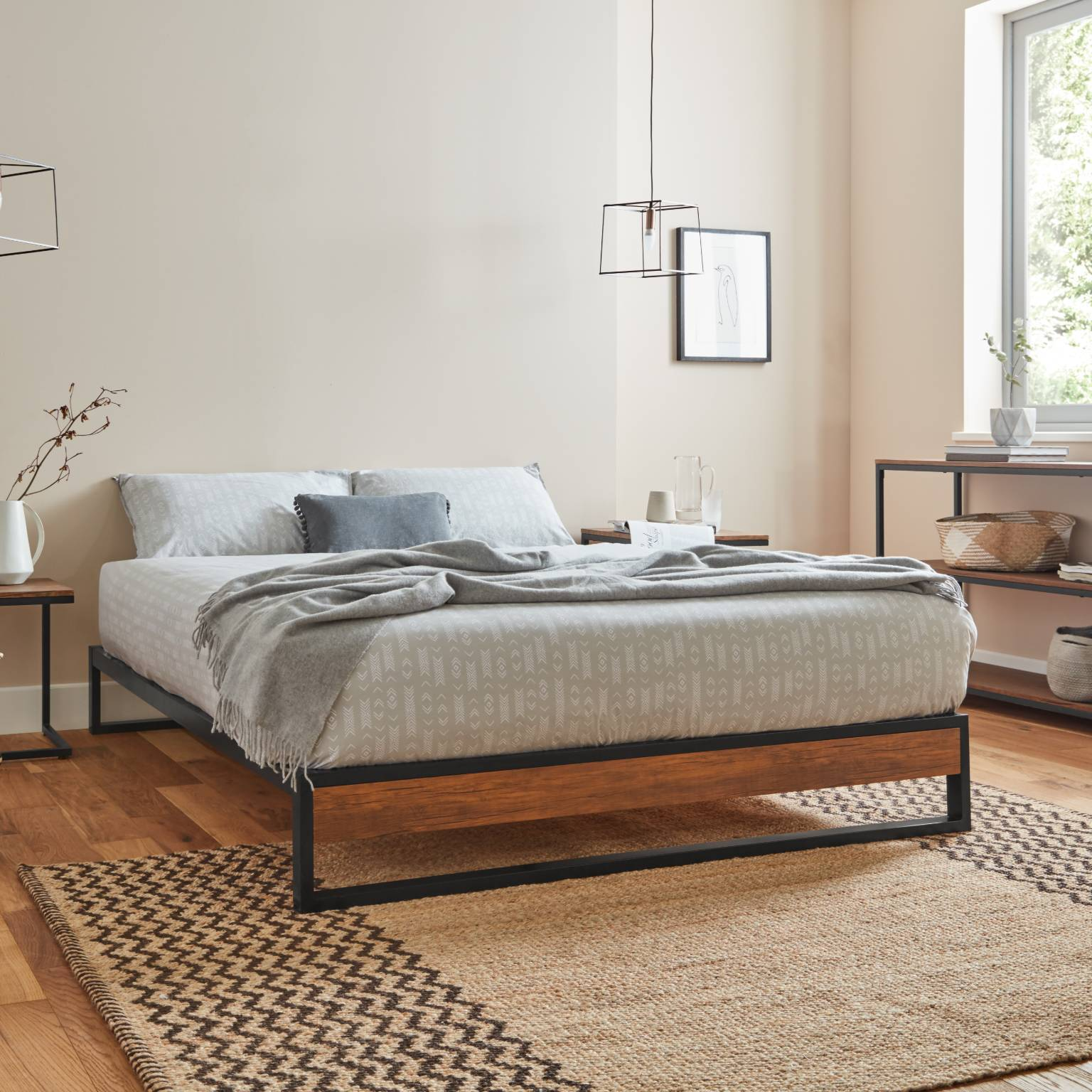 Picture of: Heeley Double Platform Bed Black Metal And Wood Effect Delivery On Laura James