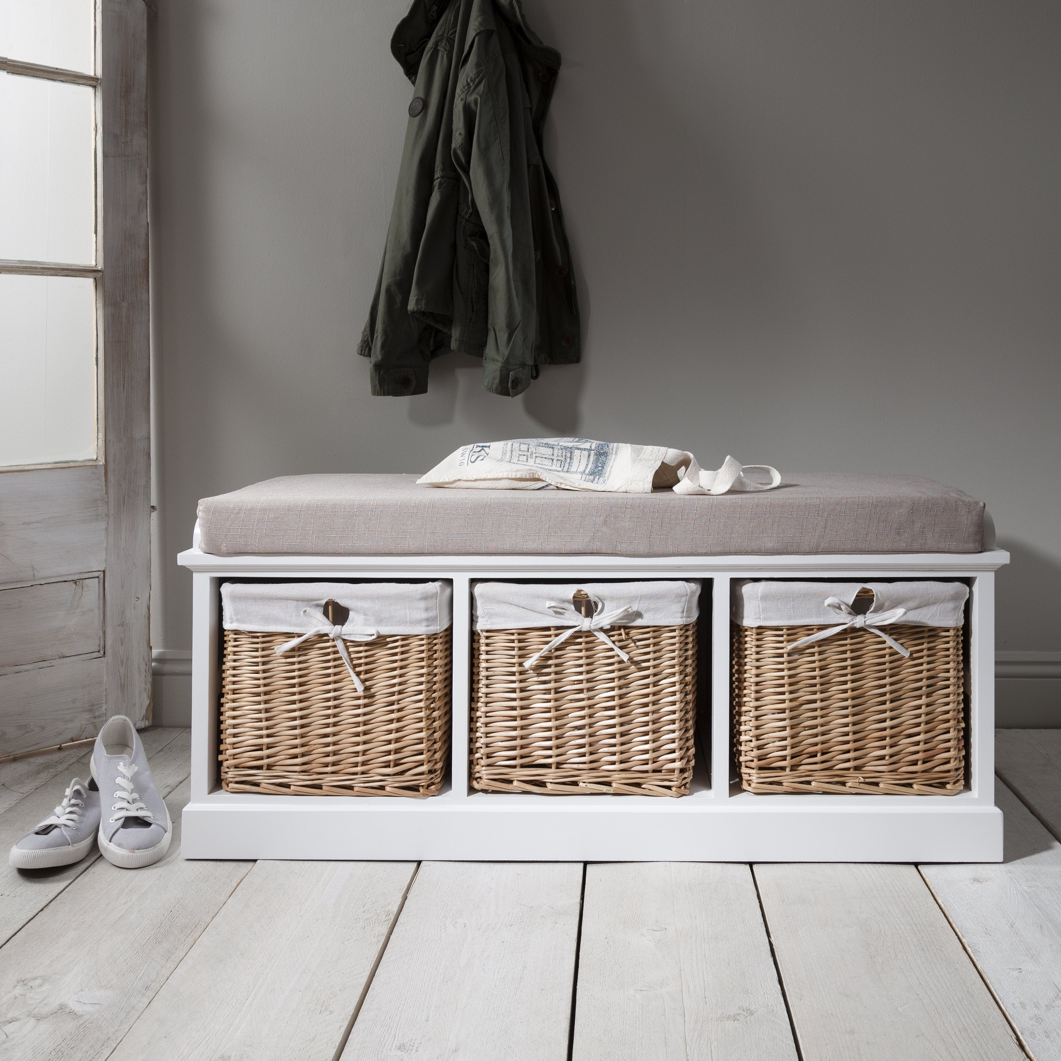 Fyfield Hallway Storage Bench In White With Cushion Delivery On Or B Laura James