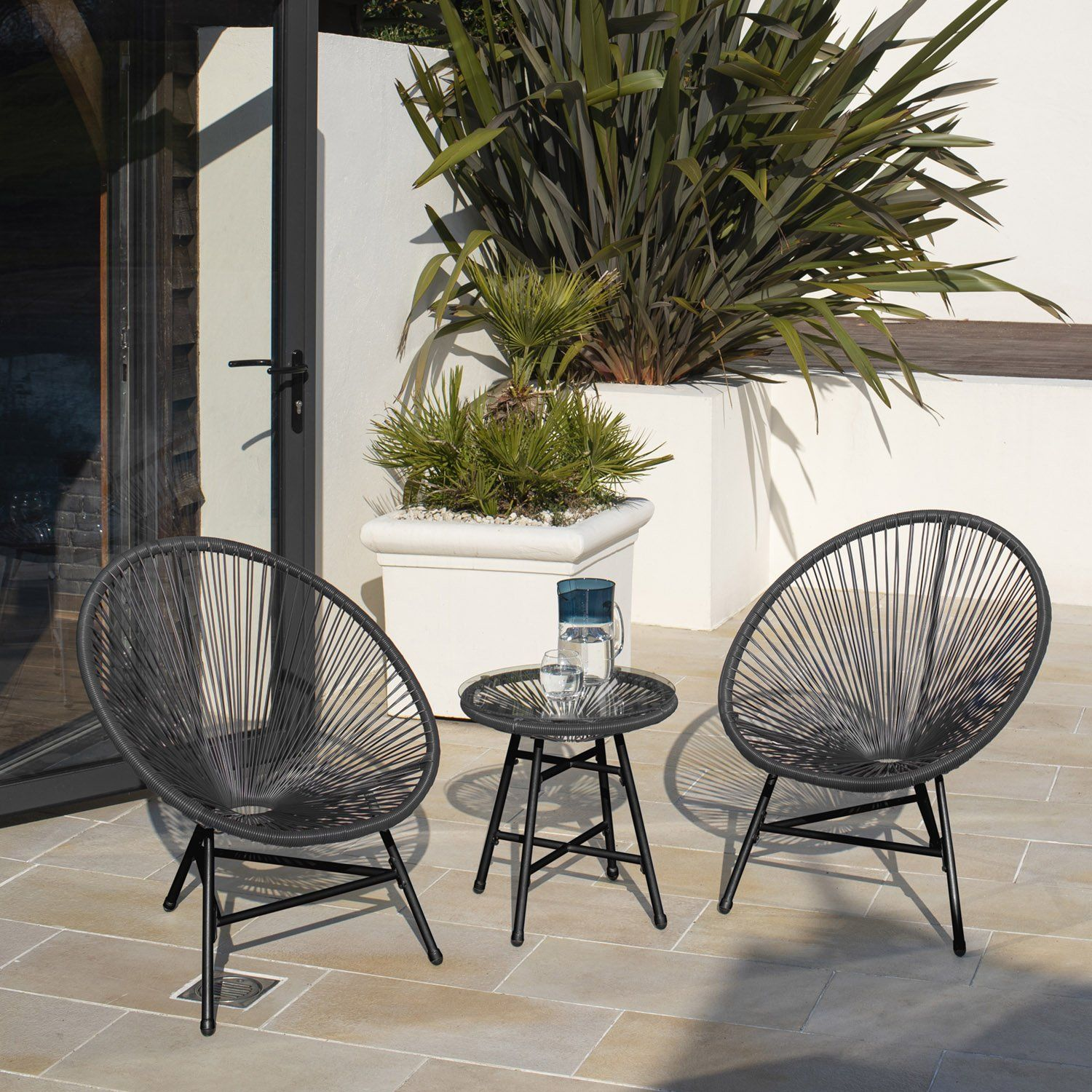 Hebe string bistro set - grey - Laura James