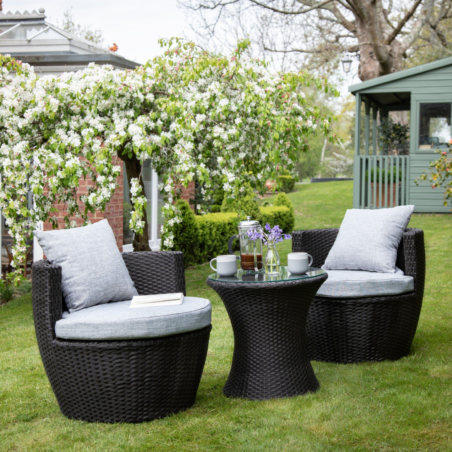 2 Seater Rattan Egg Chair Bistro Set - Black - Laura James