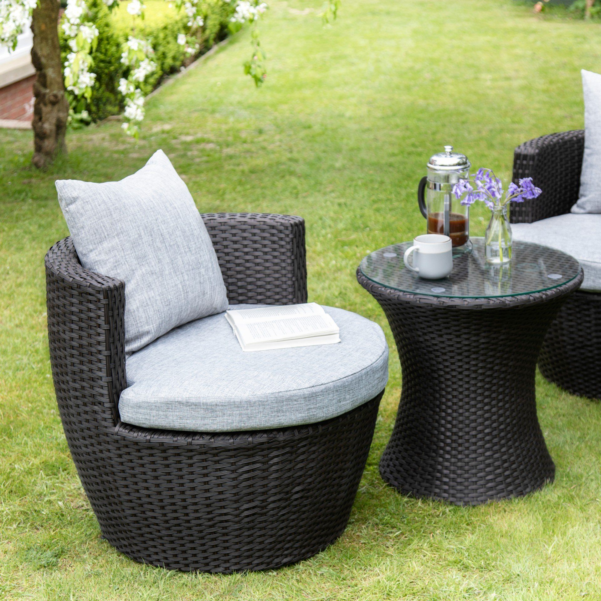 2 Seater Rattan Egg Chair Bistro Set Black Laura James