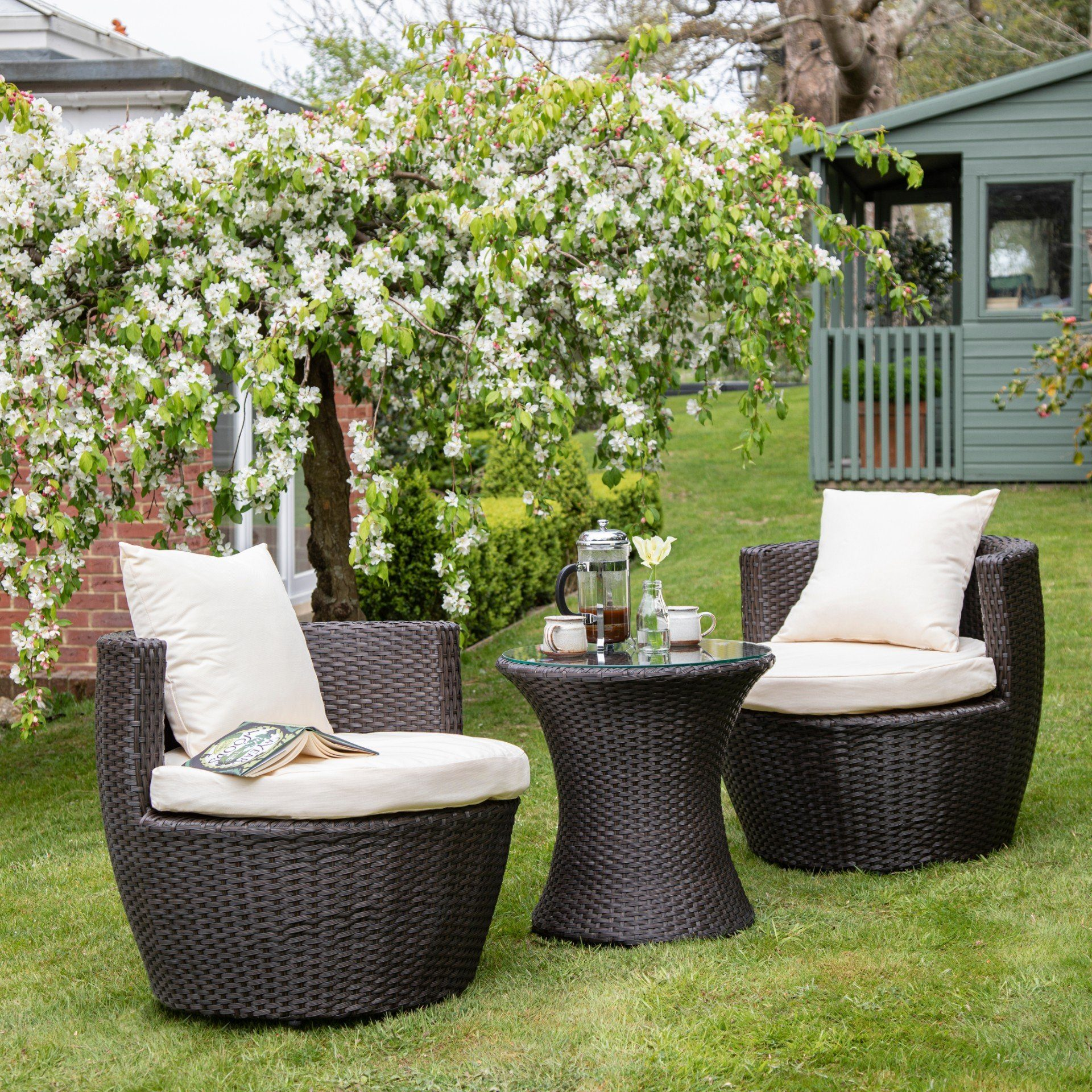 2 Seater Rattan Egg Chair Bistro Set - Brown - In Stock Date - 16th June 2020 - Laura James