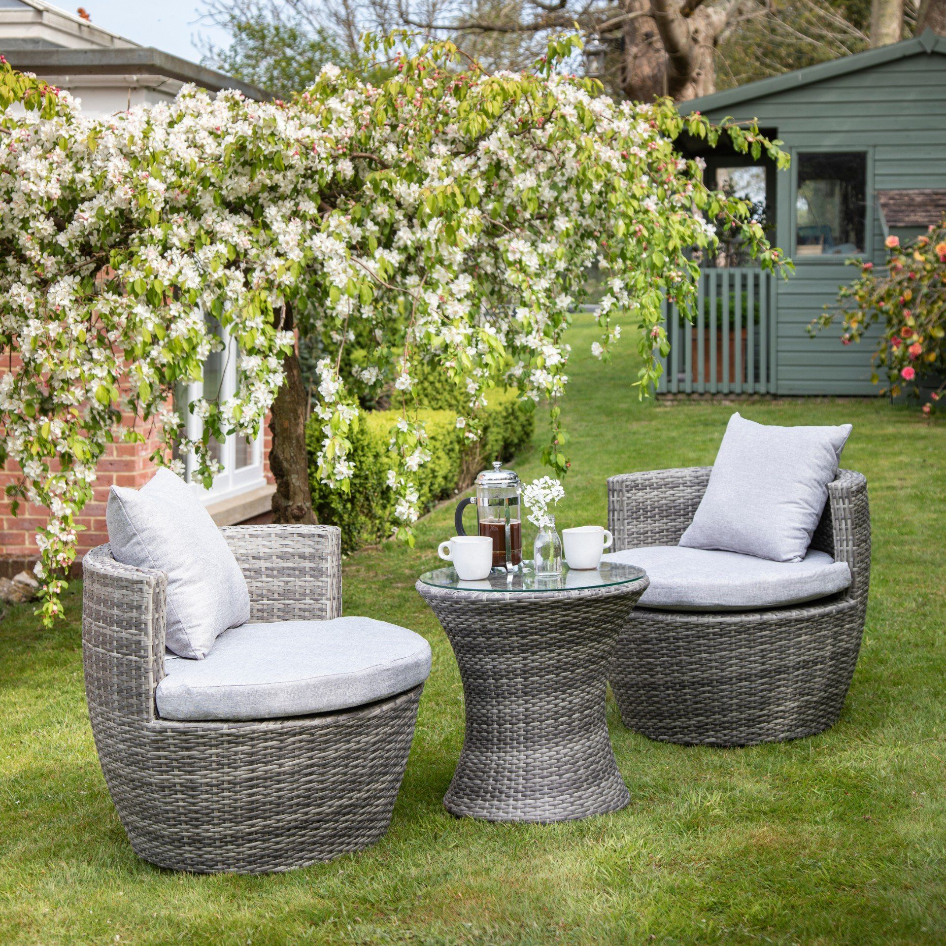 2 Seater Rattan Egg Chair Bistro Set - Grey - Laura James